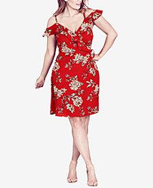 City Chic Trendy Plus Size Cold-Shoulder Faux-Wrap Dress