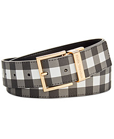 MICHAEL Michael Kors Reversible Gingham Belt, Created for Macy's
