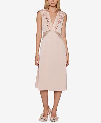 Avec Les Filles Lace-Insert Slip Dress