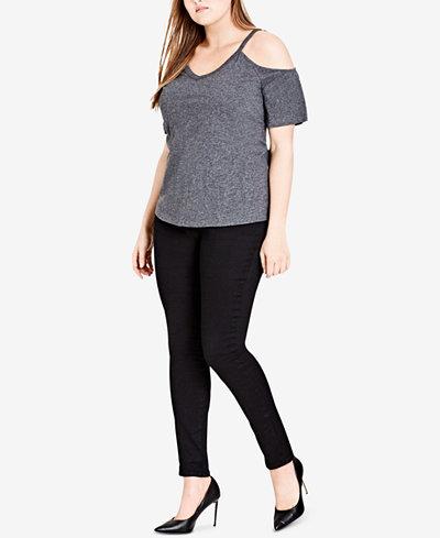 City Chic Trendy Plus Size Cotton Cold-Shoulder Top