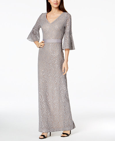 Calvin Klein Sequined Lace Bell-Sleeve Gown