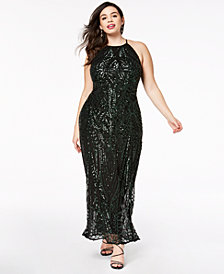 Morgan & Company Trendy Plus Size Sequin-Patterned Backless Gown