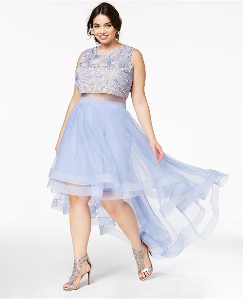 Say Yes to the Prom Trendy Plus Size Illusion High-Low Gown, Created ...