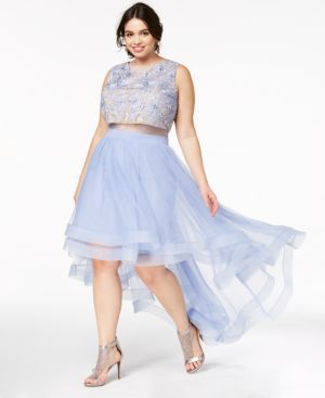 Plus Size Illusion High-Low Gown