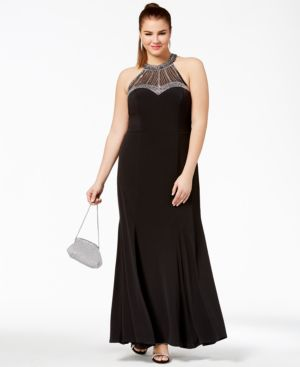 Trendy Plus Size Halter Embellished Gown