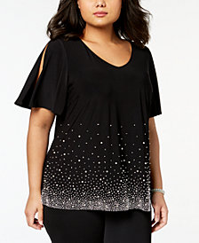 MSK Plus Size Embellished Cold-Shoulder Top