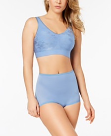 Bali Comfort Revolution Embroidered Bra & Skimp Skamp Brief