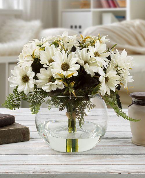 "Trademark Global Pure Garden White Daisy Floral Arrangement with Vase, 9"" x 6"" x 6"""