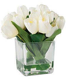 Pure Garden Cream Tulip Floral Arrangement With Glass Vase