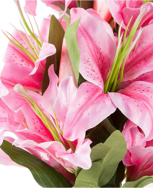 Trademark Global Pure Garden Tall Pink Lily Floral Arrangement With