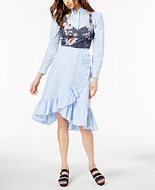 Jill Jill Stuart Corset Top, Blouse & Ruffled Wrap Skirt, Created for Macy's