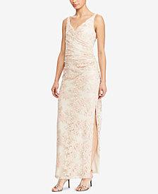 Lauren Ralph Lauren Embroidered Slim Fit Gown