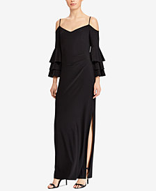 Lauren Ralph Lauren Ruffled Cold-Shoulder Gown