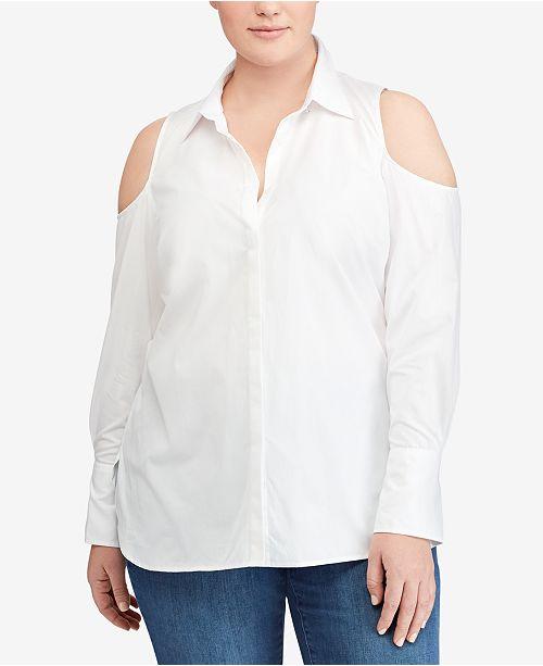 Lauren Ralph Lauren Plus Size Cold-Shoulder Cotton Shirt