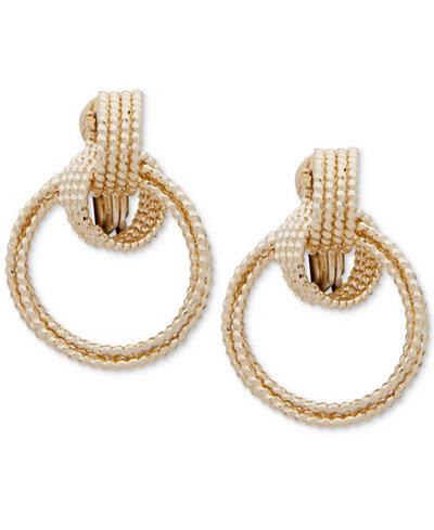 Anne Klein Multi-Row Clip-On Drop Hoop Earrings