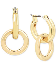 Kenneth Cole New York Gold-Tone Double-Ring Drop Earrings
