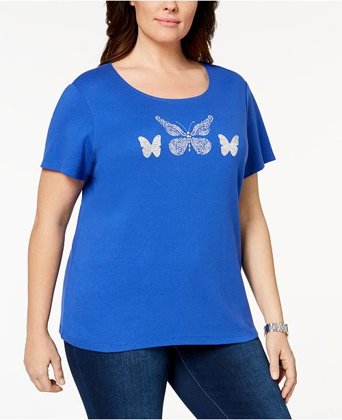 5ed042a654c82 Karen Scott. Plus Size Cotton Embellished T-Shirt