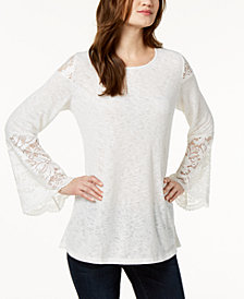 Alfani Petite Lace-Trim Bel-Sleeve Top, Created for Macy's