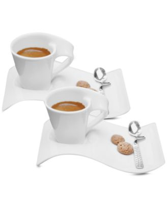 New Wave Caffe Set of 2 Espresso Cups and Saucers