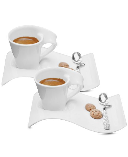 villeroy boch new wave caffe set of 2 espresso cups and saucers