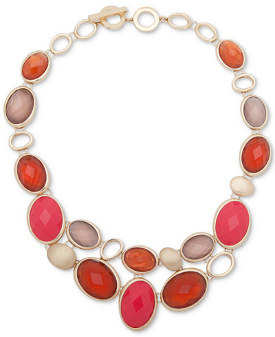 Anne Klein Gold-Tone Colored Stone Statement Necklace