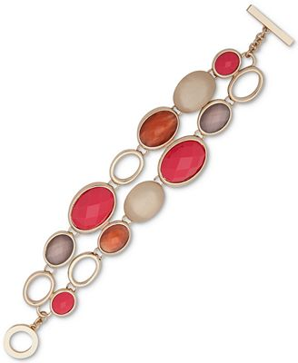 Anne Klein Gold-Tone Colored Stone Double-Row Toggle Bracelet