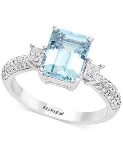 Gemstone Bridal by EFFY® Aquamarine (2-1/4 ct. t.w.) & Diamond (3/8 ct. t.w.) Ring in 18k White Gold