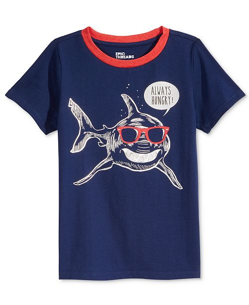 Epic Threads Shark-Print T-Shirt, Little Boys, Created for Macy's