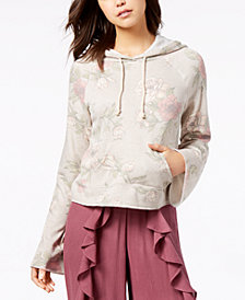 American Rag Juniors' Printed Bell-Sleeve Hoodie, Created for Macy's