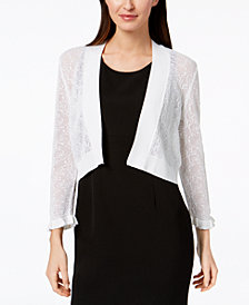 Calvin Klein Lace-Knit Cropped Cardigan