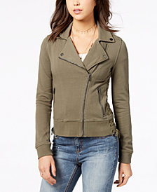 American Rag Juniors' Cotton Lace-Up Moto Jacket, Created for Macy's