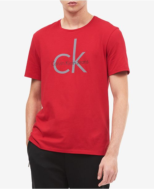 3ca8d08f943 Calvin Klein Jeans Men s CK Fabric Sticker Logo-Print T-Shirt ...