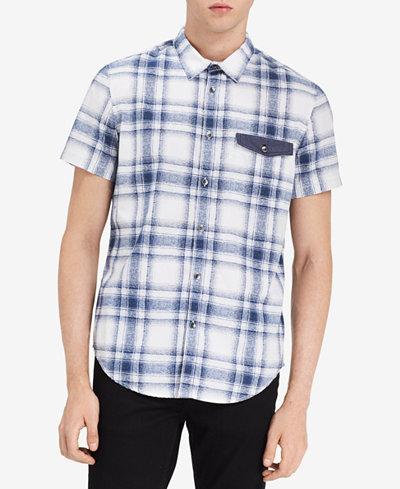 Calvin Klein Jeans Men's Plaid-Print Pocket Shirt