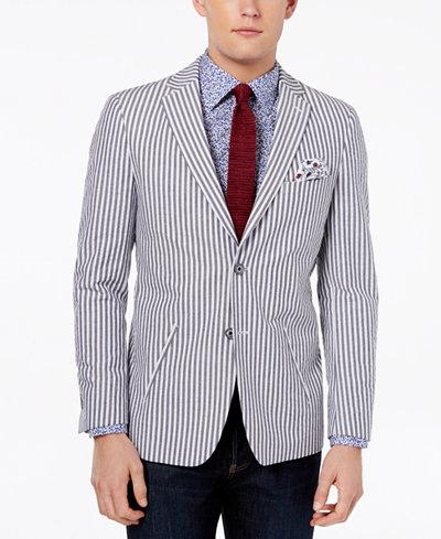 Tallia Orange Men's Modern-Fit Gray Seersucker Sport Coat