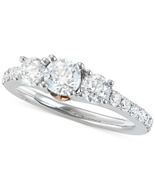 Marchesa Diamond Two-Tone Engagement Ring (1-1/2 ct. t.w.) in 18k White & Rose Gold