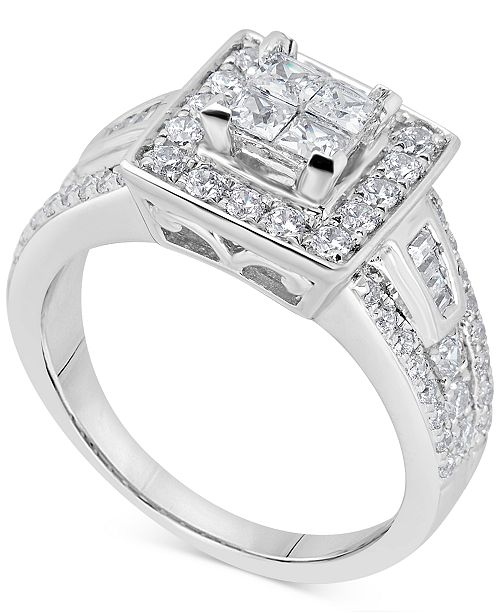 Macy's Diamond Square Halo Cluster Engagement Ring (1-1/10 ct. t.w.) in 14k White Gold