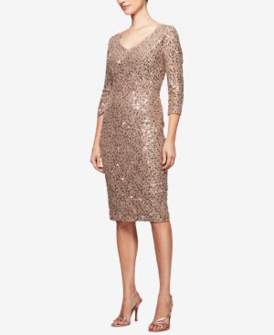 Alex Evenings Sequined Lace Sheath Dress 5373907