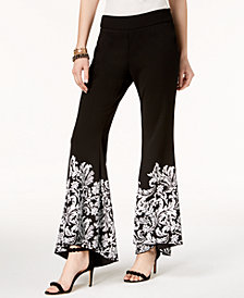 I.N.C. Petite Printed Flare-Leg Pants, Created for Macy's