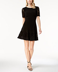 Jessica Howard Petite Lace-Sleeve Fit & Flare Dress