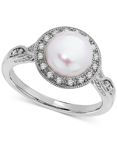 Cultured Freshwater Pearl (8mm) & Swarovski Zirconia Ring in Sterling Silver
