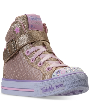 Skechers Little Girls Twinkle Toes Shuffles  Twinkle Charm High Top Casual Sneakers from Finish Line