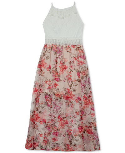 BCX Floral-Print Maxi Dress, Big Girls