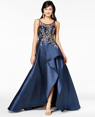 Say Yes To The Prom Juniors Sequined Illusion High Low Gown