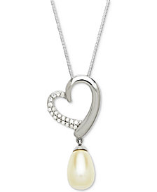 "Cultured Freshwater Pearl (10 x 7mm) & Diamond (1/10 ct. t.w.) 18"" Heart Pendant Necklace in Sterling Silver"