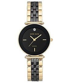 Women's Diamond-Accent Gold-Tone & Black Ceramic Bracelet Watch 30mm