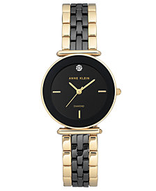 Anne Klein Women's Diamond-Accent Gold-Tone & Black Ceramic Bracelet Watch 30mm