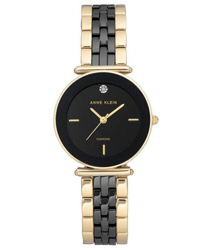 Anne Klein Women's Diamond-Accent Gold-Tone & Black Ceramic Bracelet Watch 30mm
