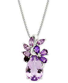 "Multi-Gemstone Cluster 18"" Pendant Necklace (4-1/2 ct. t.w.) in Sterling Silver"