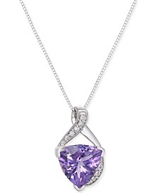 """Amethyst (2-3/4 ct. t.w.) & Diamond Accent 18"""" Pendant Necklace in 14k White Gold"""