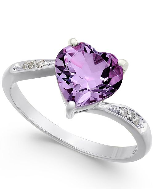 Macy's Amethyst (1-3/4 ct. t.w.) & Diamond Accent Heart Ring in 14k White Gold